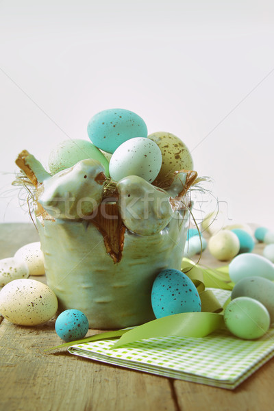 Speckled eggs  in bowl with vintage look Stock photo © Sandralise