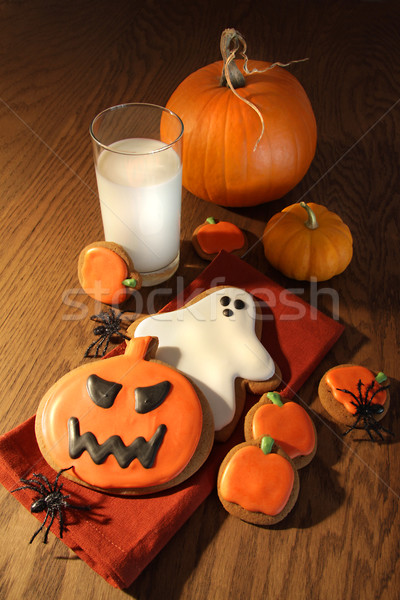Halloween cookies with a glass of milk Stock photo © Sandralise