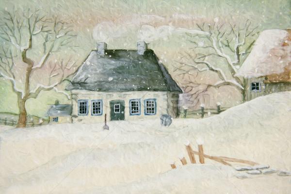 Oude huis sneeuw geschilderd digitaal papier natuur Stockfoto © Sandralise