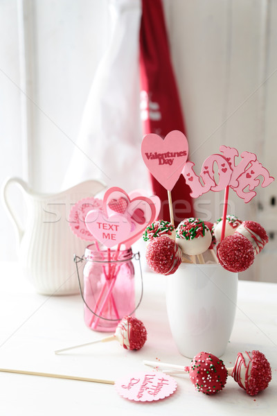 Closeup of cake pops for Valentine's Day Stock photo © Sandralise