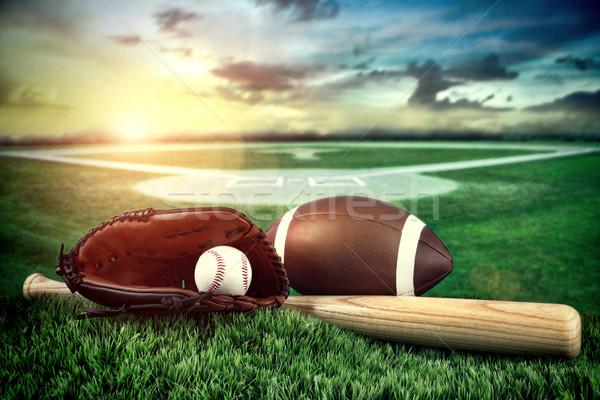 Stock fotó: Baseball · ütő · mező · naplemente · űr · csapat · labda