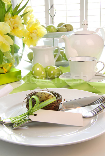 Place setting with place card set for easter Stock photo © Sandralise