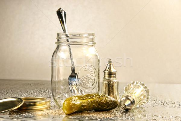 Jar antieke zout peper natuur glas Stockfoto © Sandralise