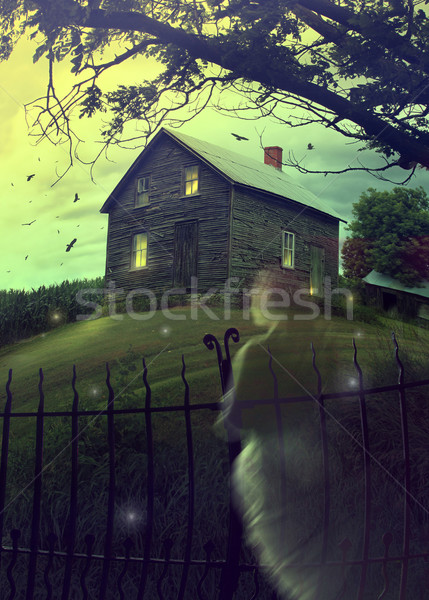 Abandoned haunted house on the hill with ghost Stock photo © Sandralise
