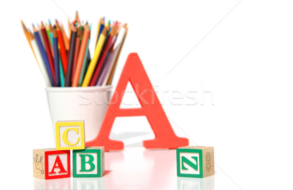 Stock photo: Wooden building blocks with pencils