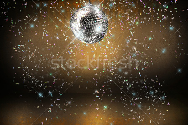 Stockfoto: Disco · ball · lichten · confetti · partij · muziek · abstract