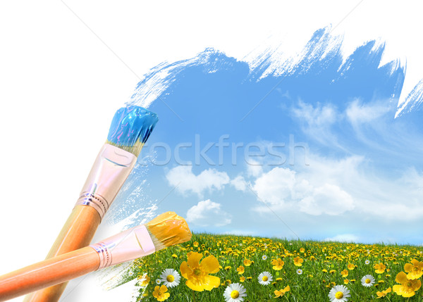 Painting a field full of wild flowers  Stock photo © Sandralise