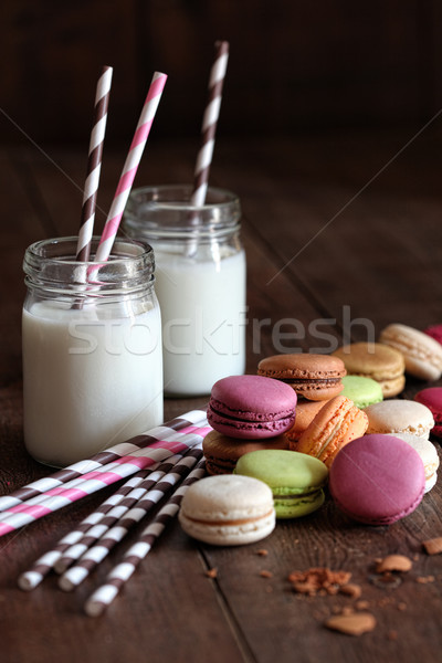 Foto stock: Jarra · óculos · colorido · escolas · beber · leite