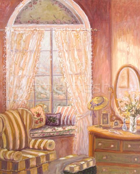 Olaj festmény hálószoba hóbortos lány fém Stock fotó © Sandralise