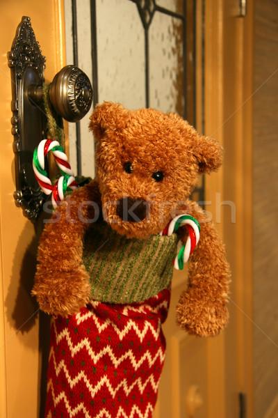 Töltött harisnya vár karácsony gyermek ajtó Stock fotó © Sandralise
