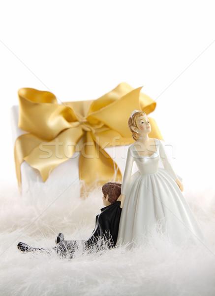 Сток-фото: свадебный · торт · подарок · белый · золото · лента · свадьба