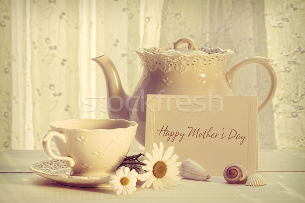 Note card with teapot and cup for Mother's day Stock photo © Sandralise
