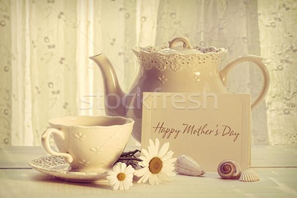 Jegyzet kártya teáskanna csésze anyák nap Stock fotó © Sandralise