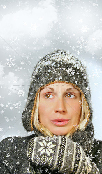 Young woman with snowy background Stock photo © Sandralise