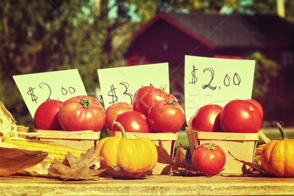 Fresh ripened tomatoes for sale at roadside stand Stock photo © Sandralise
