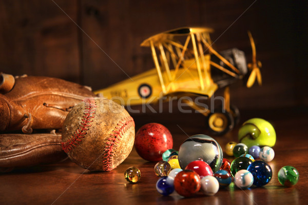 Old baseball and glove with antique toys Stock photo © Sandralise