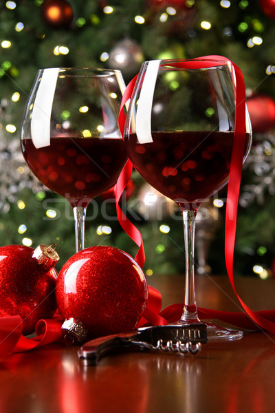 Holiday background with glasses of red wine Stock photo © Sandralise