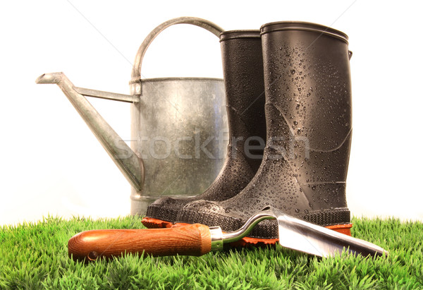 Tuin laarzen tool gieter gras abstract Stockfoto © Sandralise