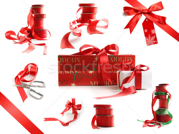 Different sizes of red ribbons and gift wrapped boxes isolated on white Stock photo © Sandralise