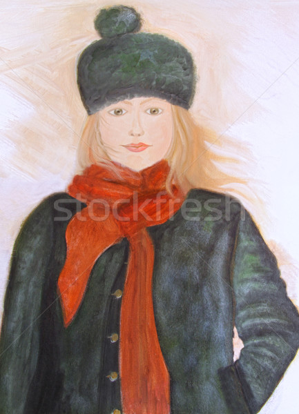 Oil painting of young girl on canvas Stock photo © Sandralise