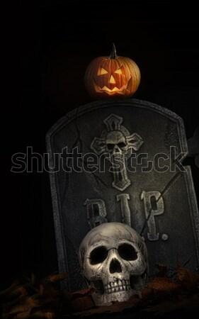 Halloween pumpkins in graveyard at night Stock photo © Sandralise