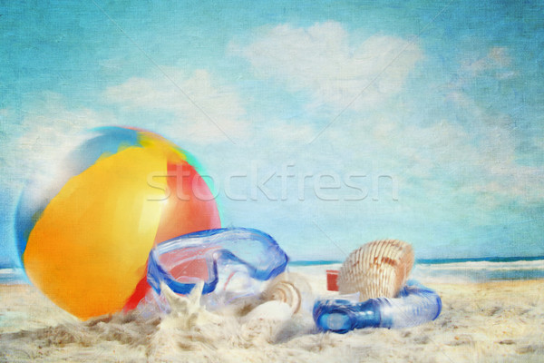 Fun day at the beach/ Digitally rendered painting Stock photo © Sandralise