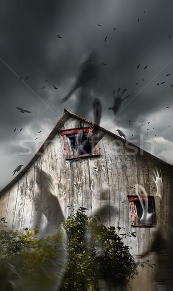 Stok fotoğraf: Ahır · hayaletler · uçan · karanlık · eski