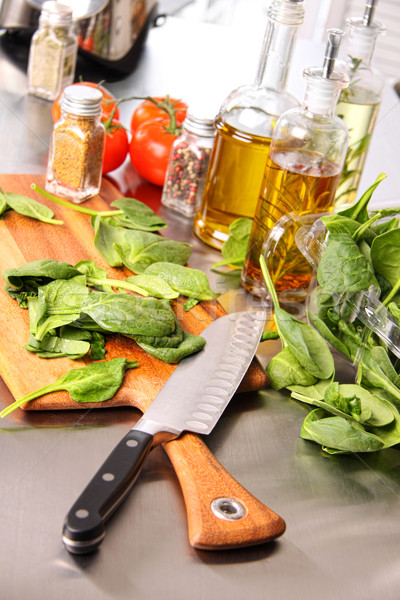 Preparing sinach leaves on cutting board Stock photo © Sandralise