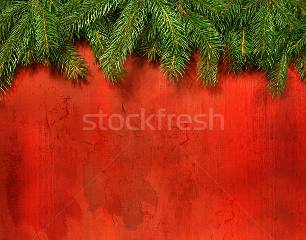 Branches of pine with rustic red wood Stock photo © Sandralise