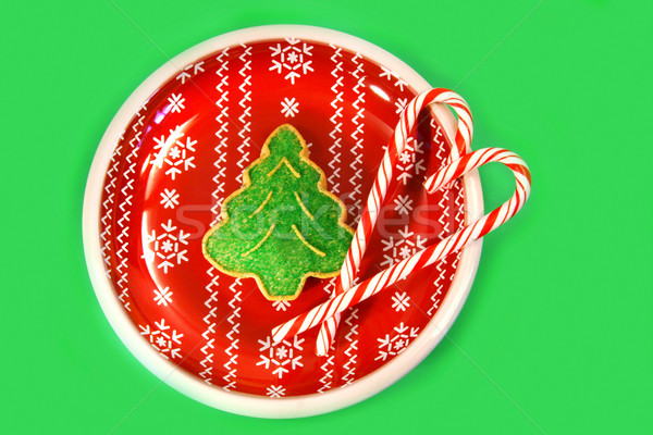 Arbre de noël cookie bonbons vert rouge plaque Photo stock © Sandralise