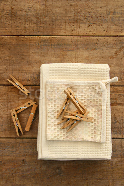 Cotton dish towel with clothes pins Stock photo © Sandralise