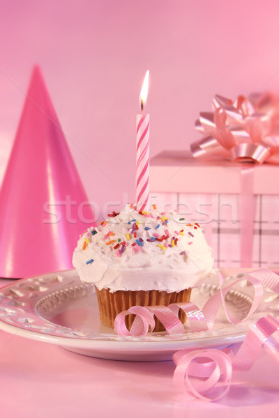 Small cupcake with candle Stock photo © Sandralise