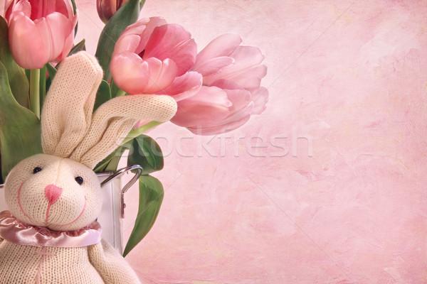 Stockfoto: Easter · Bunny · roze · tulpen · Pasen · voorjaar · kunst
