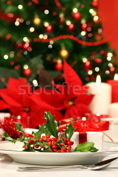 Festive holiday table with holly Stock photo © Sandralise