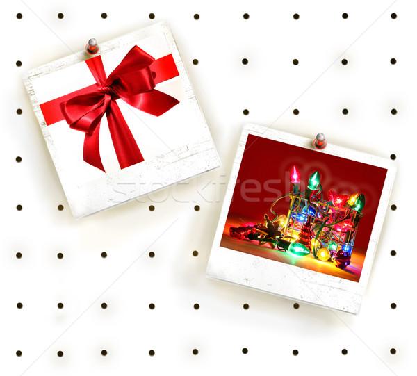 Fehér szeg tábla fotó keret papír Stock fotó © Sandralise