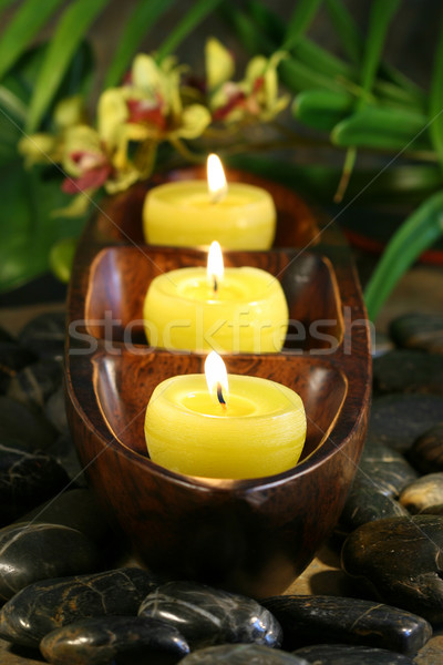 Spa candles with rocks for aromatherapy Stock photo © Sandralise