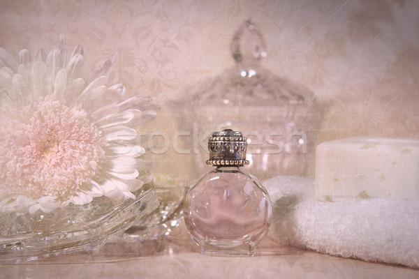 Photo stock: Vintage · parfum · bouteille · fleur · savon · mer