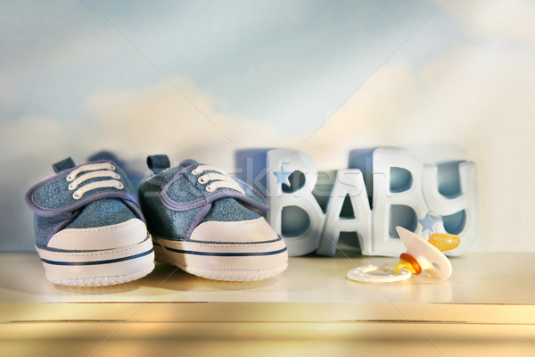 Stock photo: Baby denim shoes