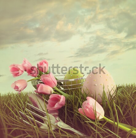 Pink tulips in tall grass  Stock photo © Sandralise