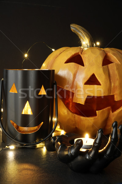 Assorted Halloween candles with pumpkin in background           Stock photo © Sandralise