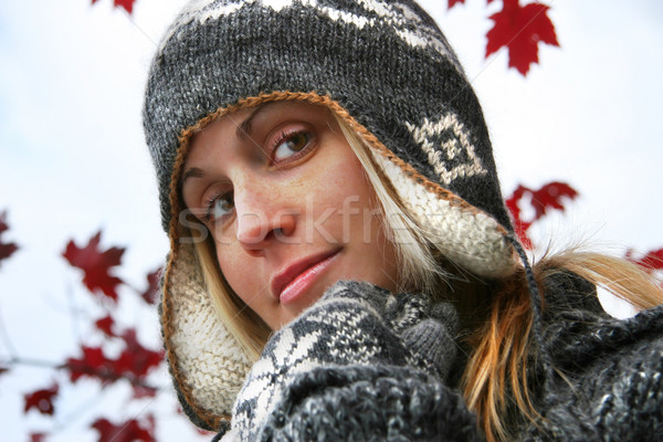 Young woman with winter hat  Stock photo © Sandralise