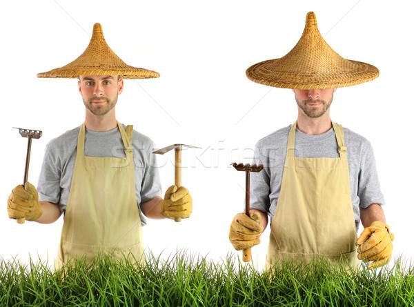 Hombre Asia sombrero de paja sombrero blanco hierba Foto stock © Sandralise