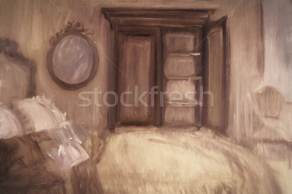 Oil painting of a bedroom, digitally altered Stock photo © Sandralise