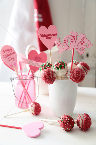 Closeup of cake pops with decorations for Valentine's Day Stock photo © Sandralise