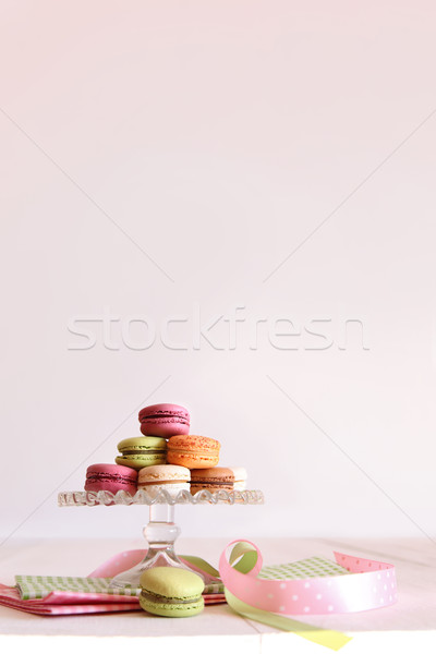 Stock photo: French macaroons on dessert tray