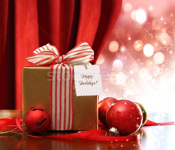 Foto stock: Oro · Navidad · caja · de · regalo · adornos · luces