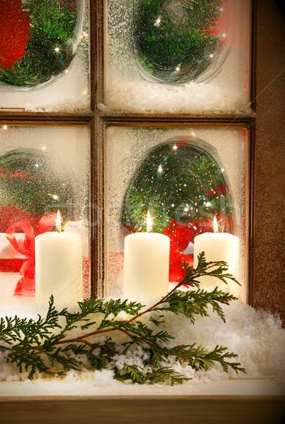 Fenster schauen Kerzen Urlaub Dekorationen Stock foto © Sandralise