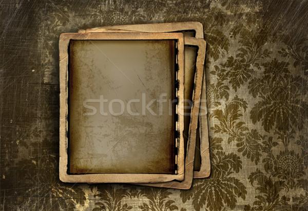 Vintage photo frame on floral background Stock photo © Sandralise
