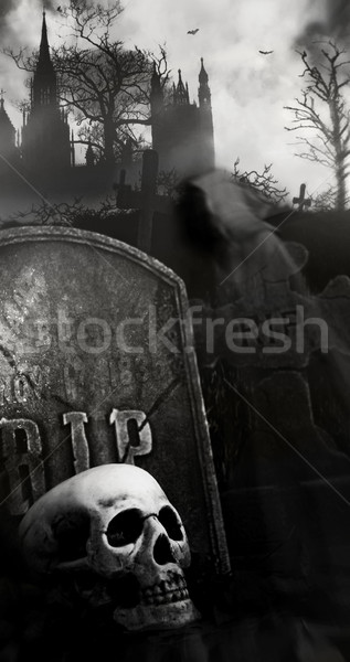 Night scene in graveyard with skull and graves Stock photo © Sandralise