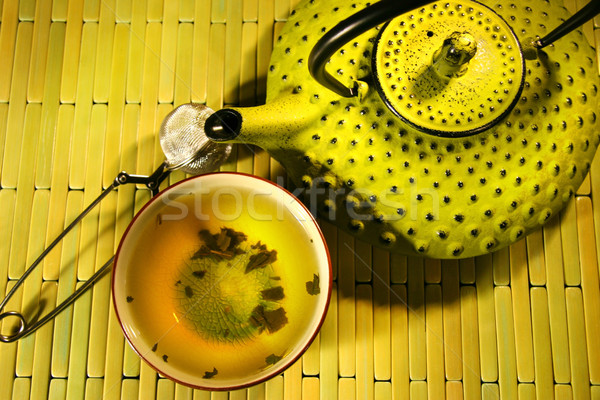 Green asian teapot with cup  Stock photo © Sandralise